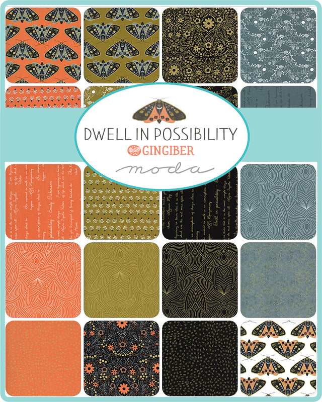 Let your imagination take wing with the latest fabric collection by Gingiber for Moda Fabrics. Dwell in Possibility was inspired by quotes from the artist's favorite authors brought to vibrant life with whimsical illustrations.