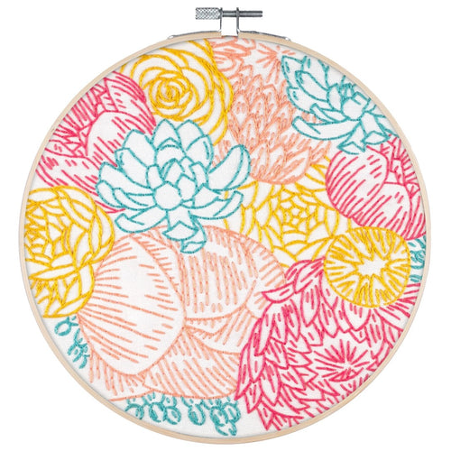 Poplush Floral Profusion flower bouquet Embroidery Kit Original design includes needle floss hoop pre-printed fabric instructions