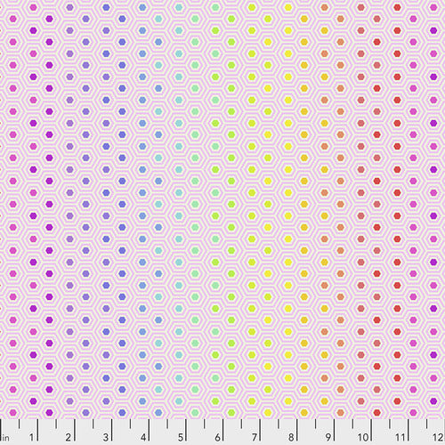 Tula Pink True Colors Hexy in Rainbow Shell