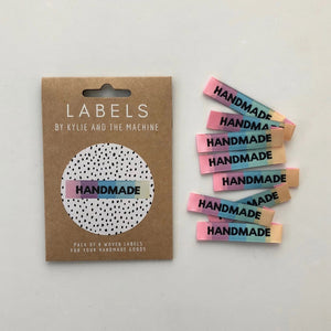 Handmade Rainbow woven labels made and packaged by Kylie and the Machine.