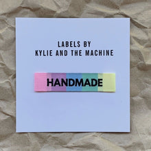 Load image into Gallery viewer, Handmade Rainbow woven labels made by Kylie and the Machine featurette.