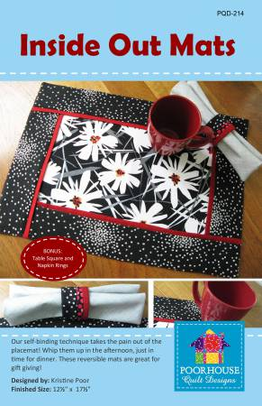 Inside Out mats placemats pattern self-binding no binding reversible table square napkin rings Poorhouse Quilt Designs