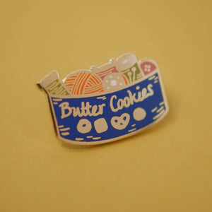 Enamel Lapel Pin Butter Cookie Sewing Tin by Justine Gilbuena