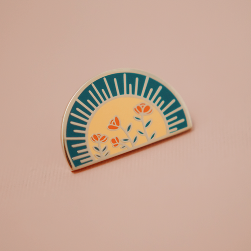 Enamel Lapel Pin Sun and Rosas Justine Gilbuena