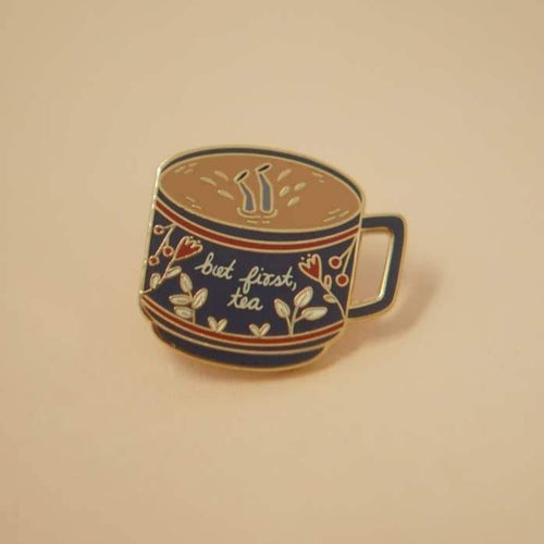 Enamel Lapel Pin but first tea teacup Justine Gilbuena