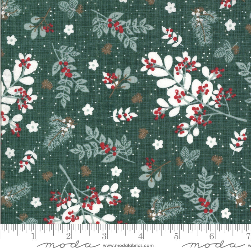 kate and birdie juniper dark green Christmas holiday winter themed botanical  moda