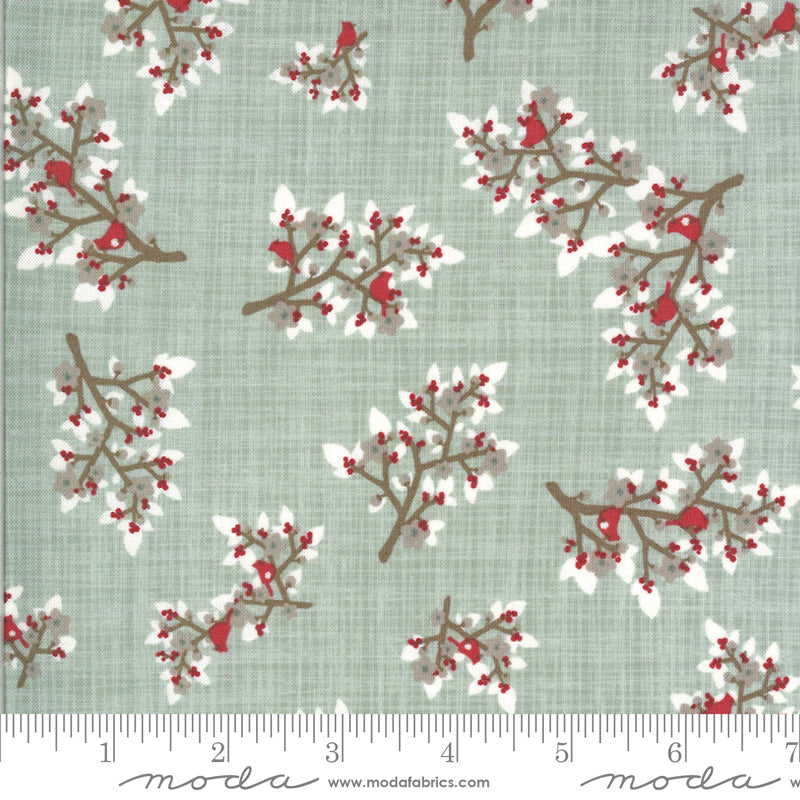kate and birdie juniper Christmas cardinal holiday winter themed botanical  moda