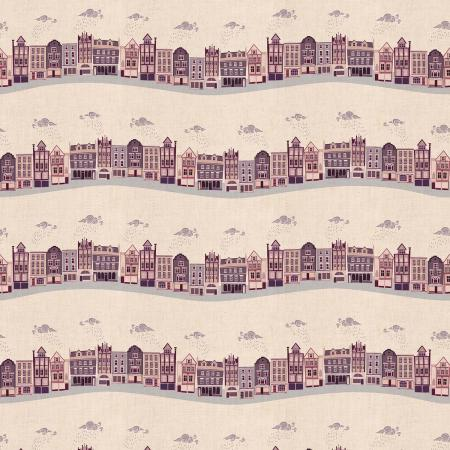Cotton and steel londown town kings road aubergine building fabric