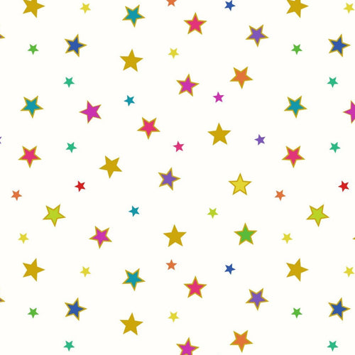 Lewis and Irene Bright Rainbow Stars Metallic Gold Quilt Cotton