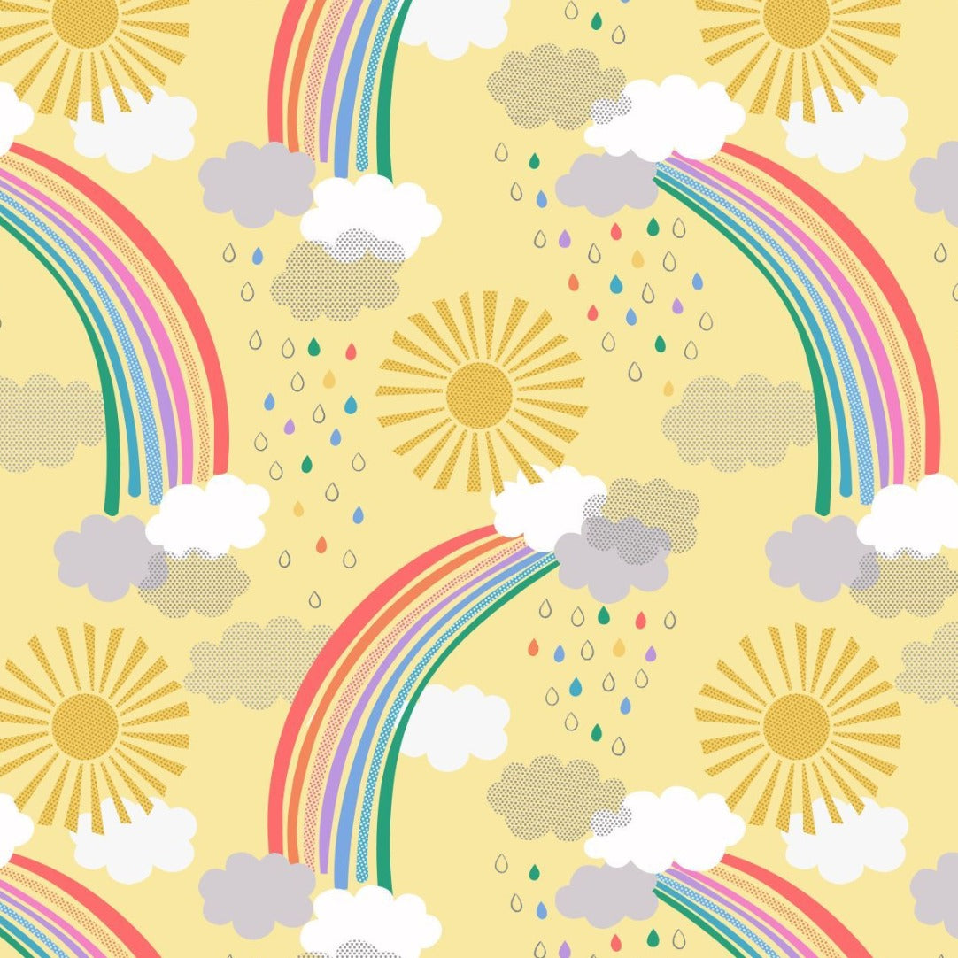 Lewis and Irene Pastel Rainbows Yellow Cotton Quilting Fabric