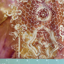 Load image into Gallery viewer, Maroon, gold background with white lace print in batik