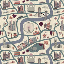 Load image into Gallery viewer, cotton and steel london town london forever blue map fabric