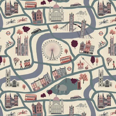 cotton and steel london town london forever blue map fabric