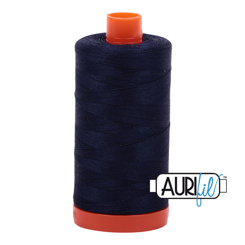 Very Dark Navy- Long staple Egyptian cotton is the best in the world! The 50 weight is the finest of the Mako threads and is very smooth and strong. 100% mercerized cotton. 1300m spool.