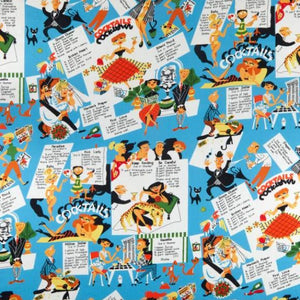 Kitschy Cocktails Michael Miller Novelty Retro Fabric