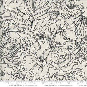 Moody Bloom Mochi Linen Her Garden Natural Black Floral Linedrawing Moda Fabric