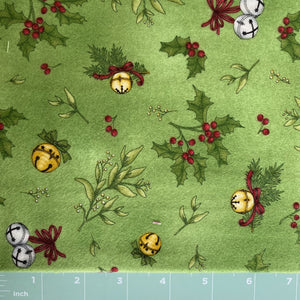 green flannel Christmas motif