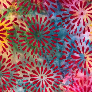 Rainbow background with Red Star Bursts 2 yard cut