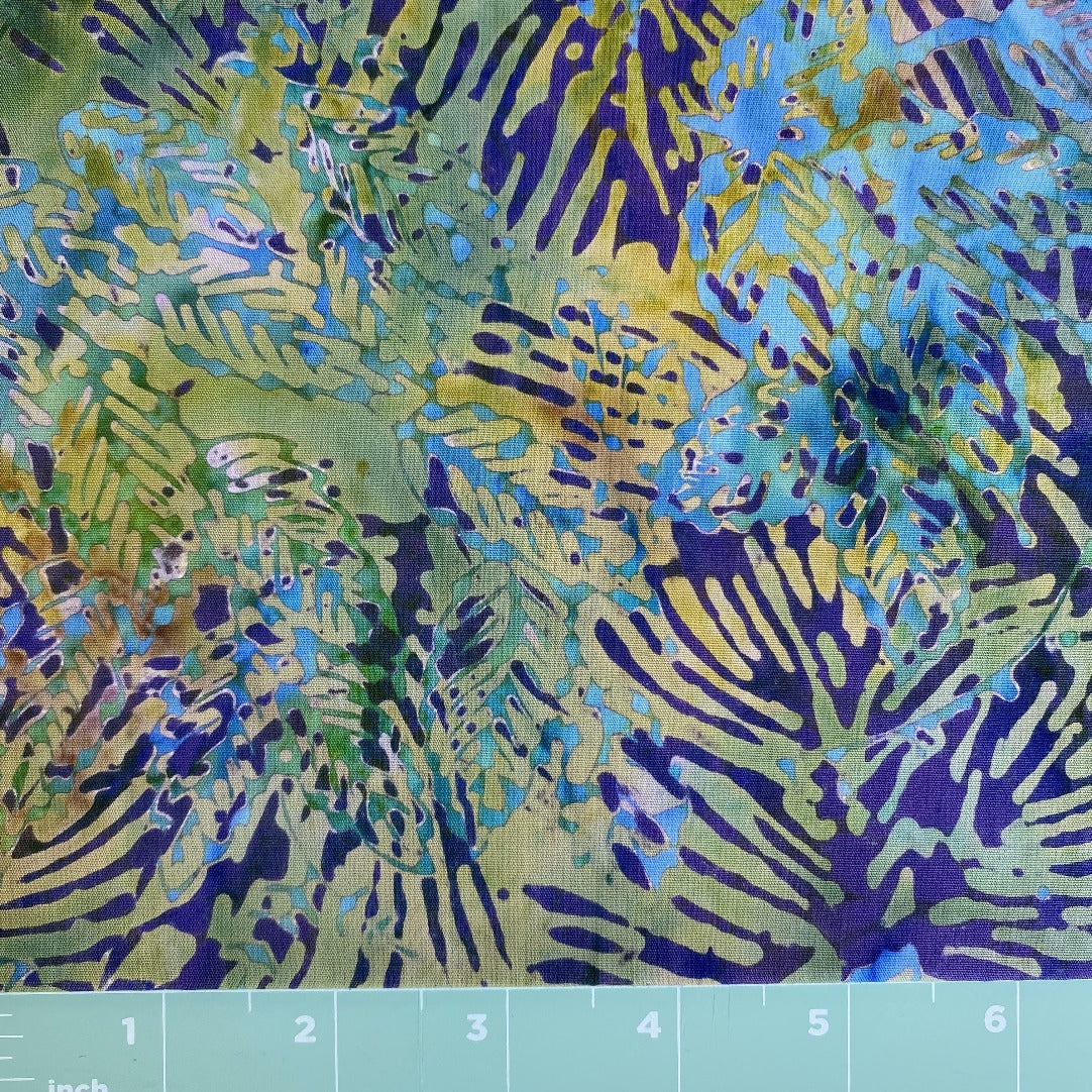 multi color batik with teal purple accents