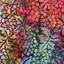 Load image into Gallery viewer, multi color background grapes leaves batik
