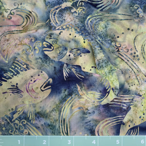 Multi green background fish batik print