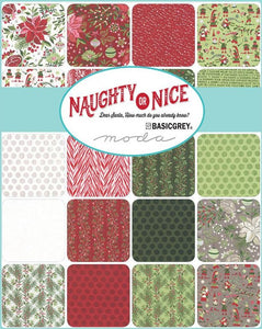 "Naughty or Nice 5"" inch charm pack Moda fabric basic grey made in japan"