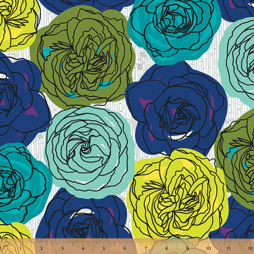norma rose by windham cabbage rose blue aqua lime