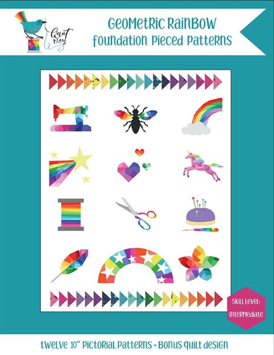 Geometric Rainbow Foundation Pieced Pattern Book by Kristy Lea Quiet Play Stars Unicorn Bee Sewing