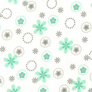 Robert Kaufman Cozy Flannel grey mint stars and flowers