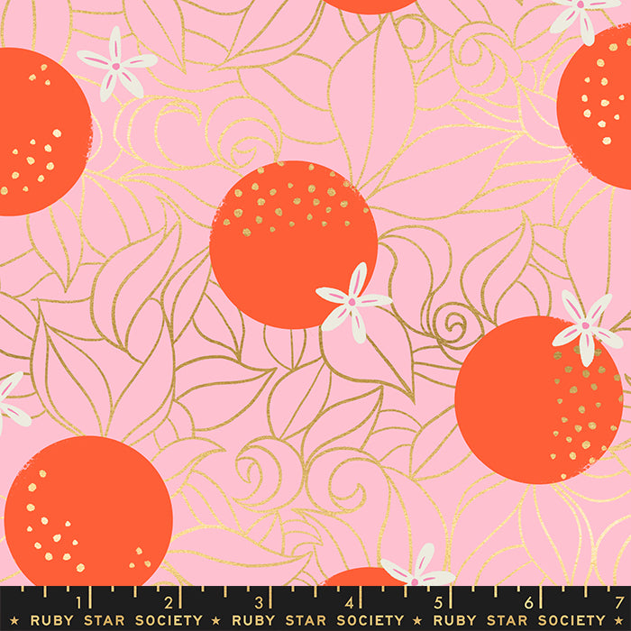 Ruby Star Society RSS Florida Orange Blossoms Posy Metallic Quilt Fabric Moda