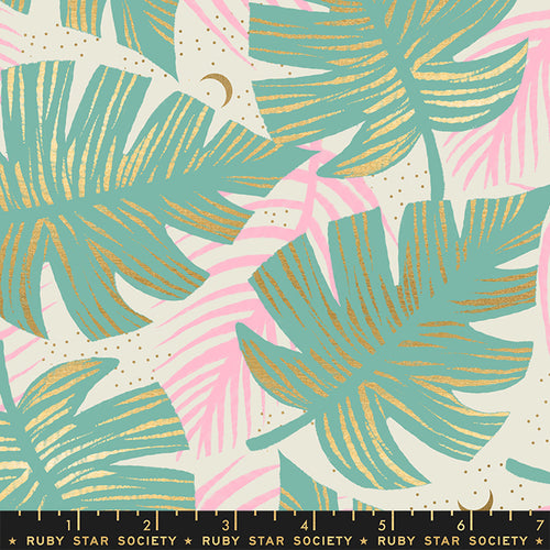 Ruby Star Society RSS Florida Shade Palms Water Metallic Quilt Fabric Moda