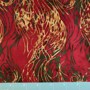 red background batik with gold and forest green accents could be a holiday print