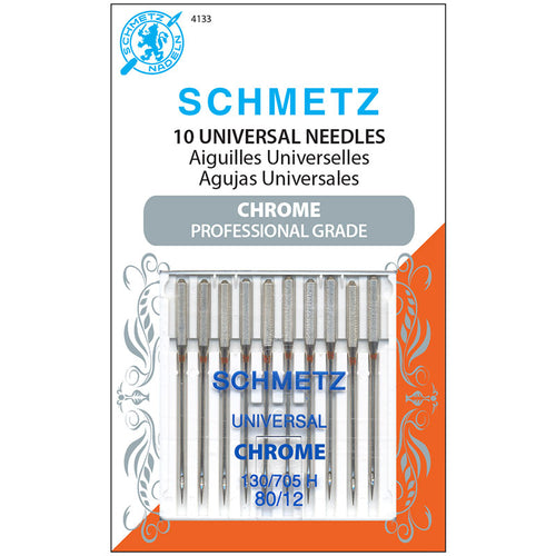 Schmetz Chrome Universal Sewing Machine Needles 80/12 Pack of 10