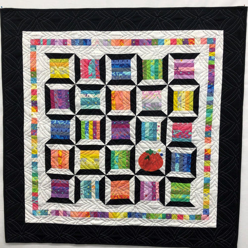 Sew What wall hanging updated with Tula Pink True colors, Riley Blake Blossom