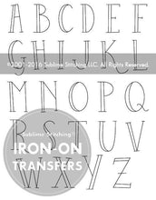 Load image into Gallery viewer, Sublime Stitching Skinny Alphabet Embroidery Iron on Transfers