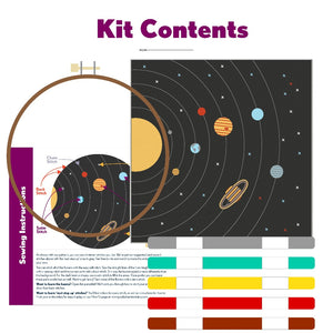 Poplush Solar System Planets Sky Night Embroidery Kit Original design includes needle floss hoop pre-printed fabric instructions