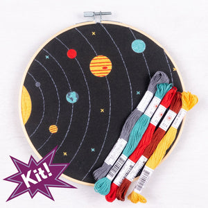 Poplush  Solar System Planets Night Sky Embroidery Kit Original design includes needle floss hoop pre-printed fabric instructions