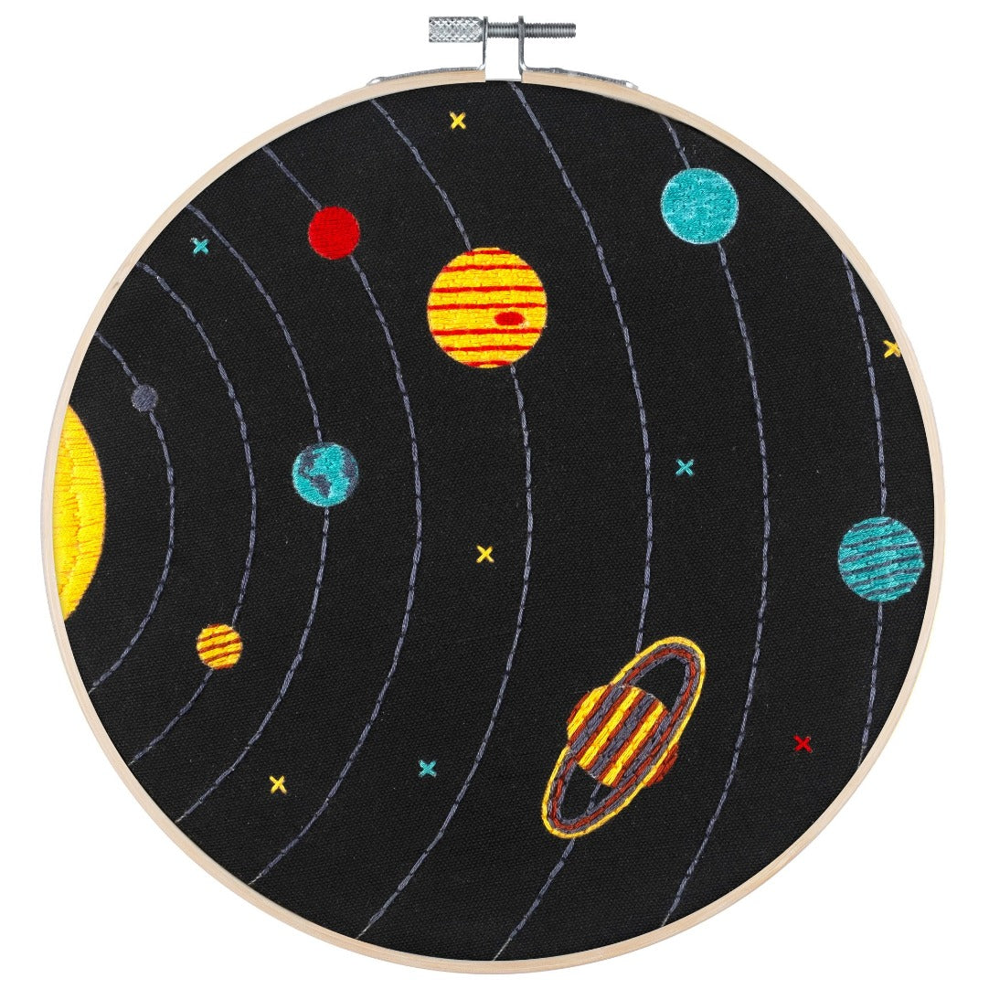 Poplush Solar System Planets Sky Embroidery Kit Original design includes needle floss hoop pre-printed fabric instructions