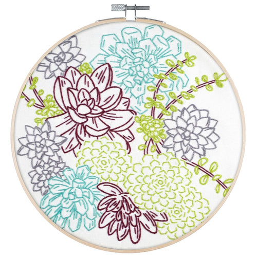 Poplush Succulent Garden Embroidery Kit Contents Original design includes needle floss hoop pre-printed fabric instructions