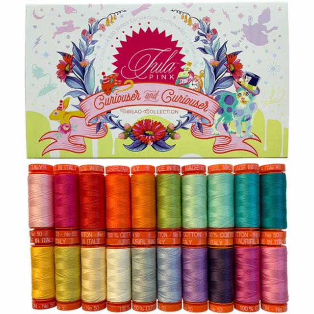 tula pink thread collection 20 spools curiouser & curiouser aurifil 50 wt