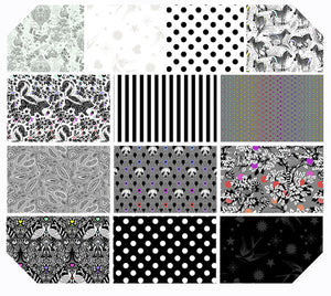 tula pink linework fat quarter bundle ombre black and white