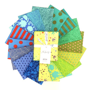 tula pink true colors mid-tone blue green red yellow stripe polka dot hexie mineral fairy dust fat quarter