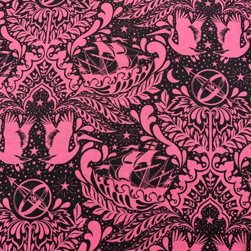 Tula Pink Elizabeth Ship Shape Sky Color Out of Print Hard to find OOP HTF Cotton Fabric Fat Quarter