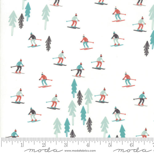 Tahoe Ski Week Mara Penny Moda Fabrics Powder background skiers trees