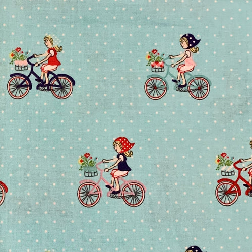 Tasha Noel Vintage Market Riley Blake girls riding bicycle bikes basket flowers kerchief  out of print hard to find OOP