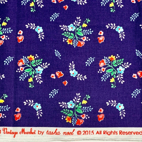 Tasha Noel Vintage Market Riley Blake navy flower out of print hard to find OOP