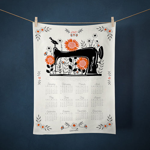 Sarah Watts sewing machine image calendar tea towel gift