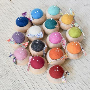 Brooklyn Haberdashery Turned Wood Pincushion Handmade in Japan