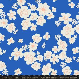 "Ruby Star Society Whatnot wideback 108"" blue floral with peach"