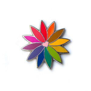 Alison Glass Rainbow Flower Pin in Pink